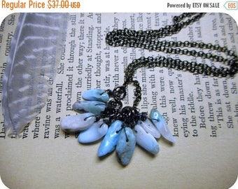 SALE The Ninth Sea Larimar Fringe Necklace. Genuine Blue Larimar Gemstone & Gunmetal necklace.
