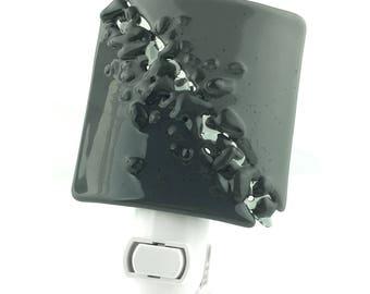 Night Light Plug In, Gray Vanity Light, Art Glass Home Decor