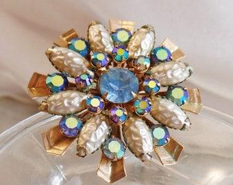SALE Vintage Large Blue AB Rhinestone Flower Brooch. Atomic Age Blue AB Rhinestone and Textured Pearl Bead Pin.