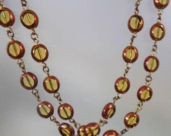 SALE Vintage Art Glass Necklace. Copper Glass Beads. Copper and Yellow Citrine Glass Necklace.