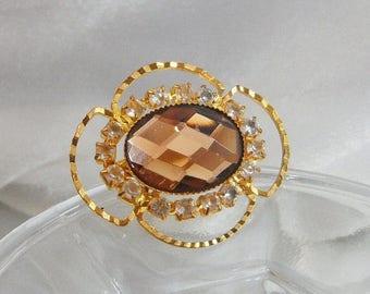 SALE Vintage Rhinestone Brooch. Brown Glass Faceted Stone. Clear Rhinestones.