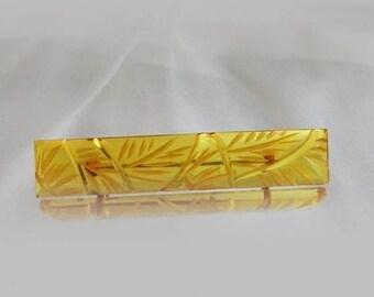 SALE Vintage Apple Juice Bakelite Carved Bar Pin Brooch.  Art Deco.  1930s Bakelite Bar Pin.