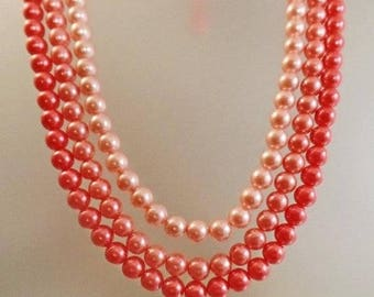 SALE Vintage Three Shades of Pink Pearls Necklace.  Japan. Three Strand Faux Pearls Necklace.