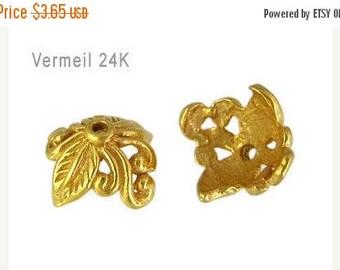 7% off SHOP SALE Set of 2 Bali 24kt Gold Vermeil Leaf & Vine Bead Caps, 5mm x 9mm, artisan-made supplies - Flat Rate Shipping