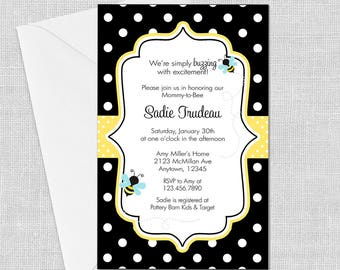 DIGITAL Bumble Bee Invitation- Polka Dots, 5 x 7, Bee Birthday, Bee Baby Shower, Meant to Bee, Customized w/ Your Wording, JPEG or PDF File