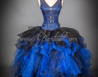 Size Small Blue and Black Burlesque SteamPunk Corset tulle ball gown READY TO SHIP
