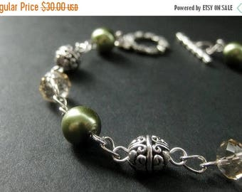 SUMMER SALE Beaded Bracelet in Olive Green Pearls, Taupe Crystals and Silver. Woodland Bracelet. Handmade Jewellery.