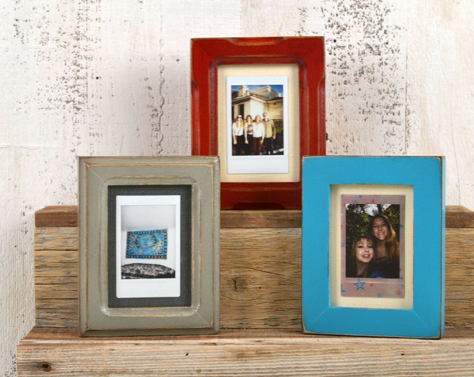 Picture Frame for Small Instant Camera Print in Your Choice of Style and Vintage Color - 3.25 x 4.5 inch Frame - Print Size 55 cm x 85 cm