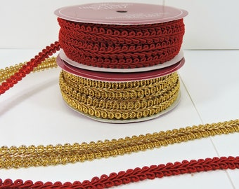 Vintage Red and Gold Trim / Red Gold Chinese Braid Trim / Christmas Braid Trim