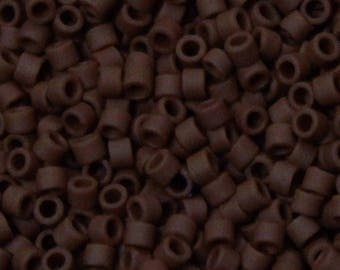 DB-1584 11/0 Miyuki Delica Seed Beads - opaque expresso bean brown matte - round cylinder seed beads