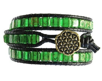 Jewelry On Sale Flower of Life Triple Wrap Bracelet - green and black leather bracelet - unisex bracelet - emerald green tile bracelet - cho