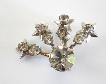 Vintage Rhinestone Shooting Star Pin • Rhinestone Silver Color Star Brooch