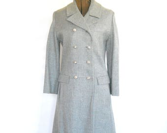 Vintage Tailored Double Breasted Wool Coat • 1970s Grey Wool Coat