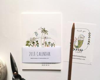 2018 house plants calendar - 2018 desk calendar - 2018 wall calendar, 12 cards - 12 illustrations - illustrated wall cards calendar plants