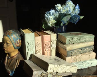 Altered Chalk Painted Hardback Book Wedding French Country Victorian Scrap Clay Applique Medallion