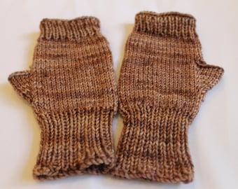 Fingerless Mitts in Brown Wool