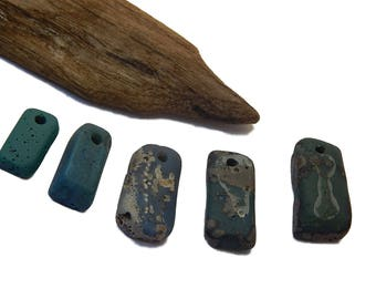 Leland Blue Pendants, DIY Jewelry Supplies, Lake Michigan slag glass, upnorth treasure, Foundry glass, Iron Ore Stone, Slag Glass Pendants
