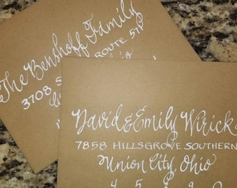 Handwritten calligraphy envelope addressing in any font and ink color