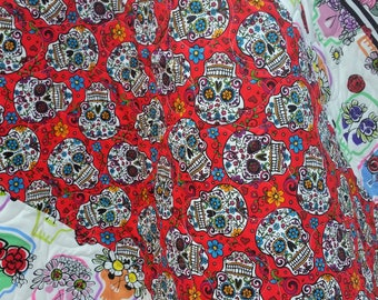 Sugar Skull Baby Quilt-Baby Shower Gift-Nursery-Red-Gray-Roses-Baby Bedding-Crib-Handmade-Homemade Modern Baby Blanket