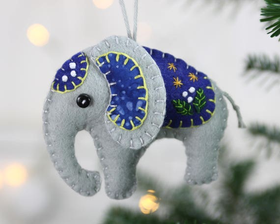 Felt elephant ornament Handmade elephant Christmas ornament