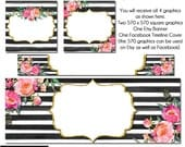 Esty Floral set, DIY Etsy and Facebook Set, DIY Graphics, Oh Kate , Striped FB Set, Watercolor Etsy Set, Premade Etsy Set