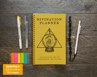 Divination Planner Notebook - Yellow  / Monthly / Half-Size / 24 Months / Pick Your Own Starting Month