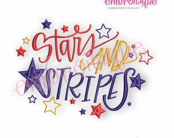 Stars and Stripes  -Instant Download Machine Embroidery Design