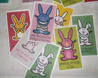 77 HAPPY BUNNY Crafting Cards • rabbit with a smart mouth