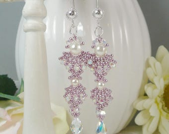 Woven Dangle Earrings with Swarovski Crystal