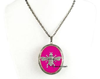 Bee Pill Box Necklace Inlaid in Hand Painted Fuchsia Enamel Oval Locket Necklace with Color and Personalized Options