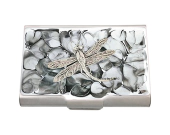 Dragonfly Large Business Card Case Hand Painted Glossy Enamel with Grey and White Quartz Inspired with Personalized and Color Options