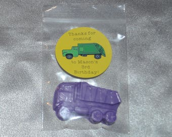 Dump Truck Crayons And Stickers, Truck Party Favors, 20 Dump Truck Crayons And 20 Round Stickers.  Boy Unique Party Favors.