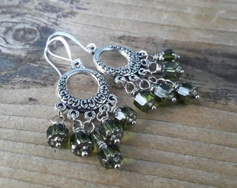 Olive Green & Antique Silver Dangles   Sparkling Green Cathedral Glass Drop Chandelier Earrings   Open Round Boho Hoop Earrings
