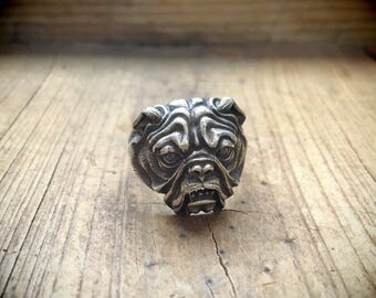 Vintage sterling silver ring English bulldog Size 8.25 biker jewelry dog gifts
