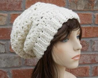 Womens Slouchy Beanie, Ivory Hat, Crochet Hat, Winter Hats for Women, Knitted Hats for Women, Cute Hats, Hand Crocheted Items, Beanie Hat