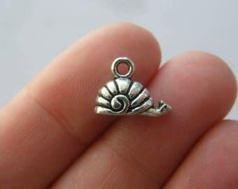 BULK 50 Snail charms antique silver tone A465