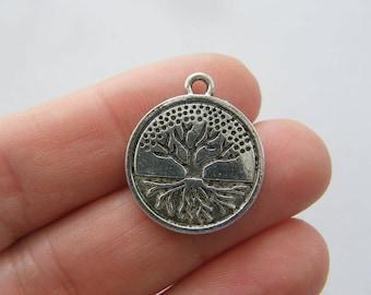 BULK 50 Tree charms antique silver tone T93