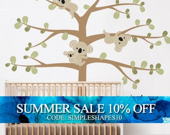 Koala Tree Wall Decal, Koala Hanging From Branches, Baby Nursery Wall Decal
