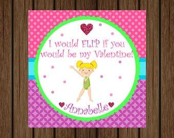 Gymnastics Valentine / Valentines Day / Valentine's Day / I Would Flip if You Would Be My Valentine / Classroom Valentine / I Would Flip