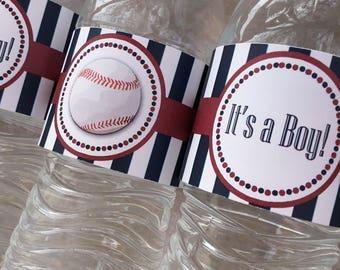 Baseball Water Bottle Label, Baseball Baby Shower, It's a Boy, Boy Baby Shower, Baseball Birthday, Instant Download