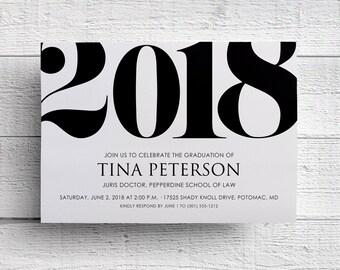 Class of 2018 Invitation, Graduation Invitation 2018, Announcement, Invitation Template, Graduation Party, College, Printable, Invite