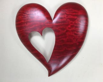 Red personalized wooden wall heart shaped gift wood carving