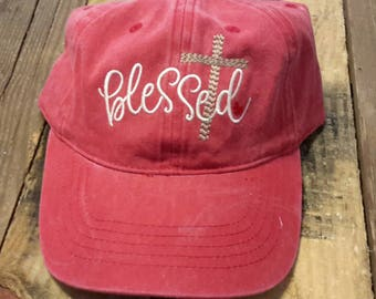 Embroidered Blessed baseball cap,embroidered haat