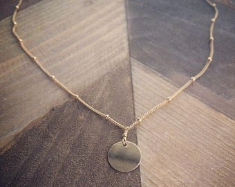 Gold Filled Circle Charm Satellite Chain Necklace