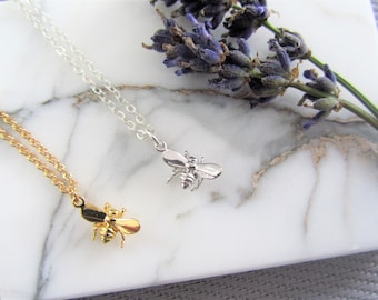 Delicate Necklace - Bee Necklace - Best Friend Necklace Set - Set of 2 Necklaces - Gift for Her - charm necklace - bridesmaids gifts