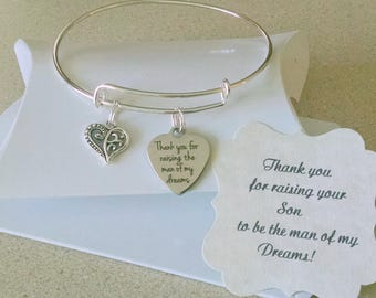 Mother Of The Groom Gift, Mother In Law, Thank You For Raising The Man Of My Dreams, Mother In Law Bracelet, SUMMER SALE