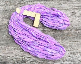 Handspun yarn, thick and thin, handmade in super chunky merino wool and silk - 46 yards, 2.7 ounces and 76 grams
