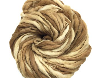 Plant dyed handspun yarn in thick and thin super bulky merino wool - 50 yards, 3.1 ounces/ 89 grams