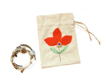Gift bag, linen pouch, drawstring gift bag, fabric party bag, appliqued flowers, bright orange flower, gift for her, jewelry travel pouch