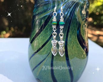 Spiral Goddess Color Changing Mood Earrings, Mood Jewelry, Two-Sided Silver Goddess Earrings, Unique